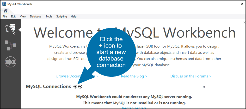 MySQL Workbench database restore step 1