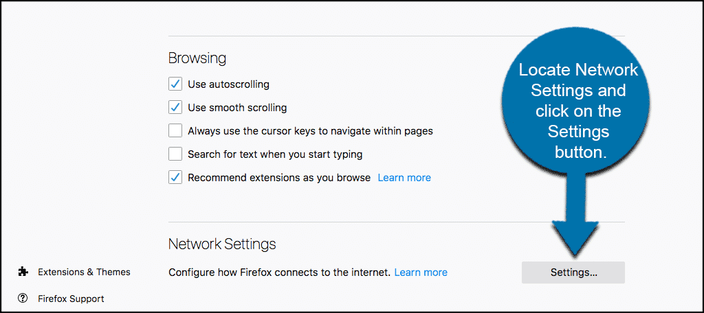 Locate network settings and click on the settings button