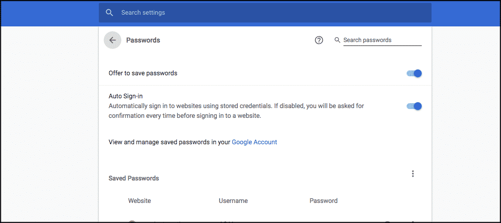 Fix your google chrome password settings how you want