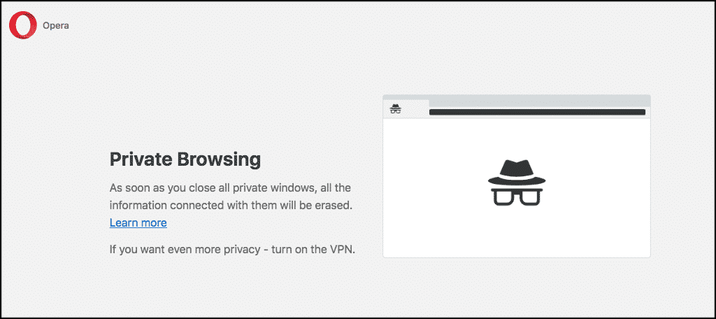 Opera private browsing window