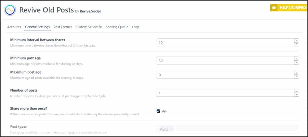 Revive Old Posts General Settings