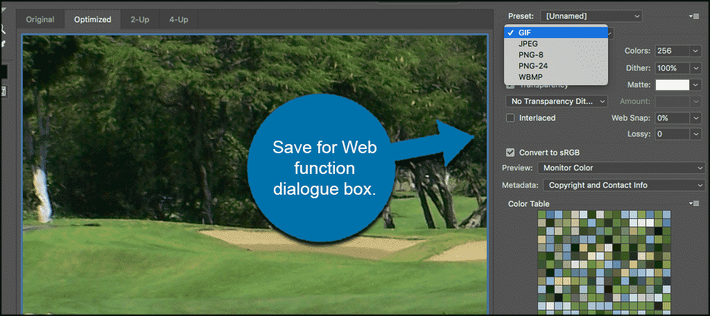Photoshop save for web function dialog box