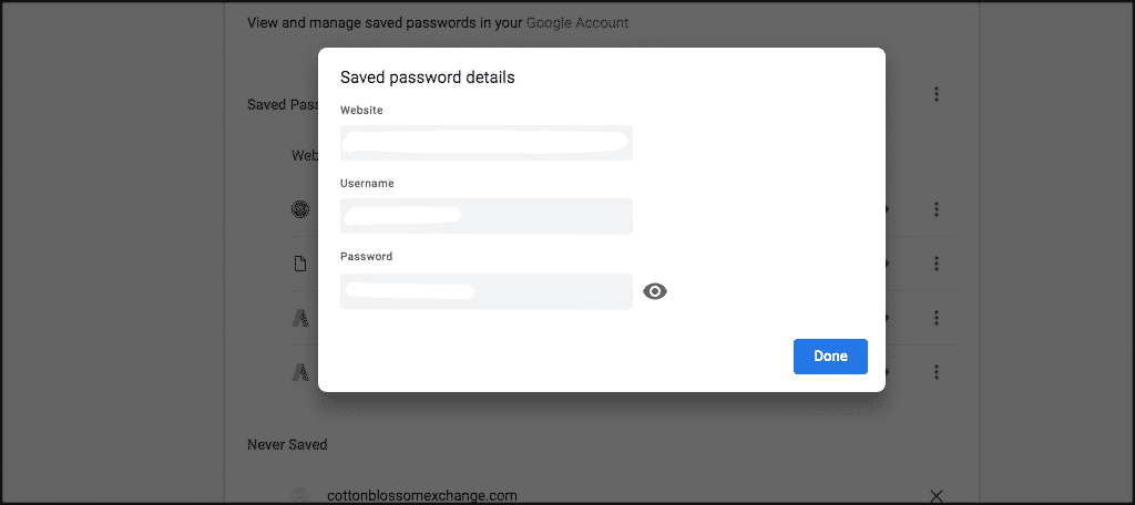Popup box with saved password details