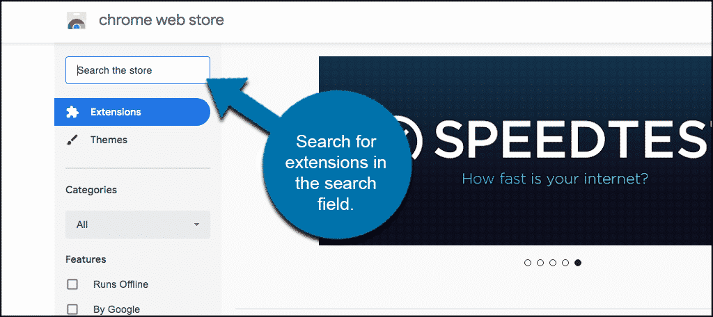 Search for extensions in the search field