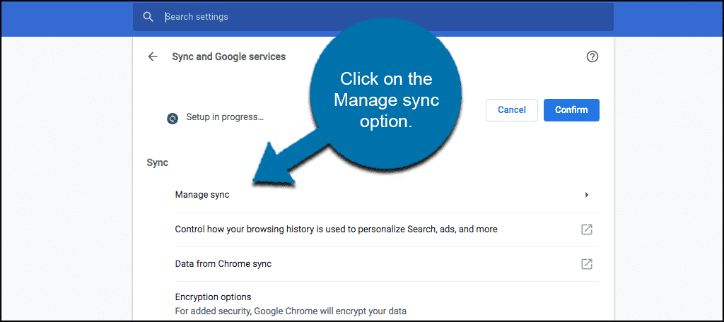 Select the manage sync option