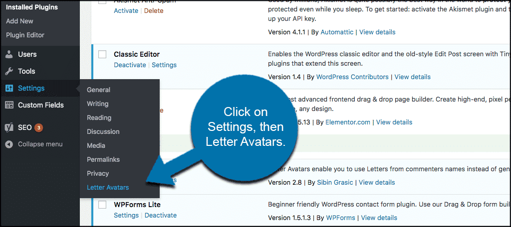 Click on settings then letter avatars