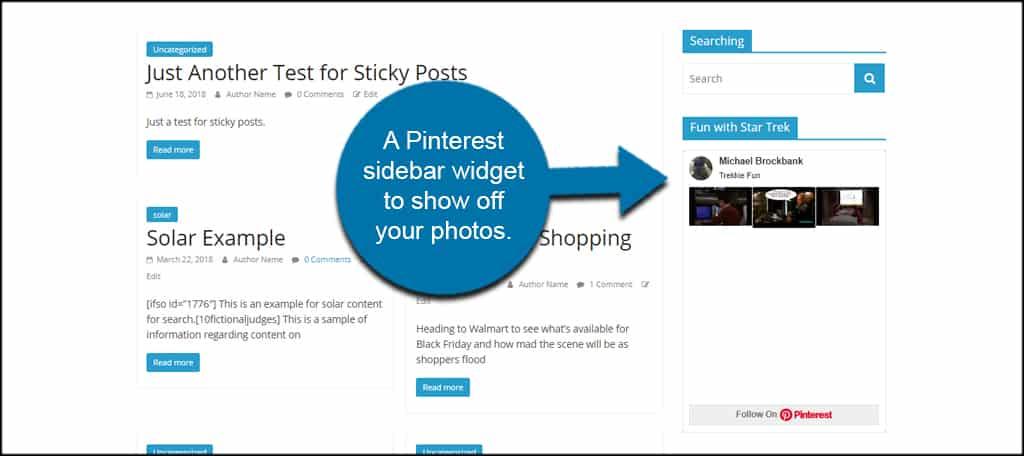 Sidebar Pinterest Widget