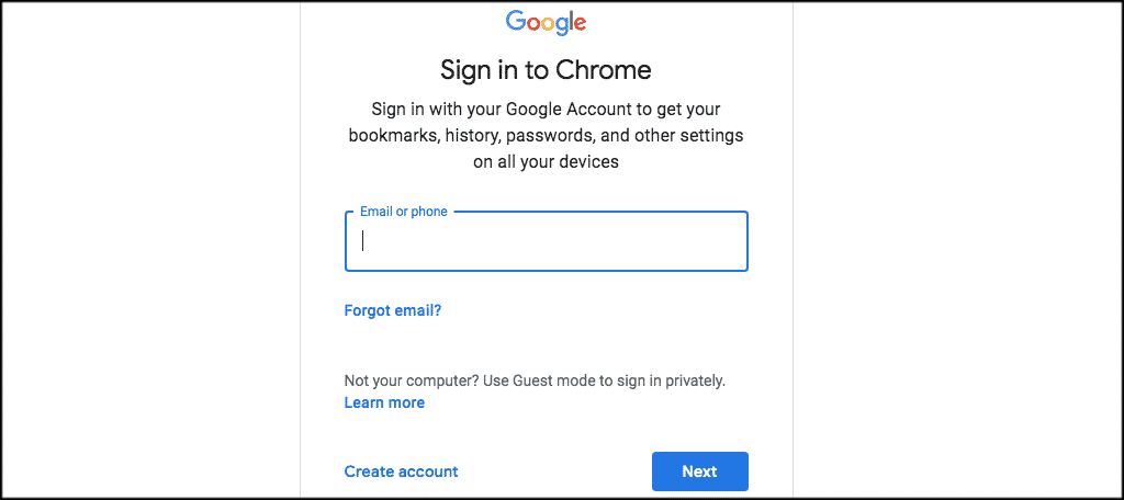 Sign in to your google chrome account