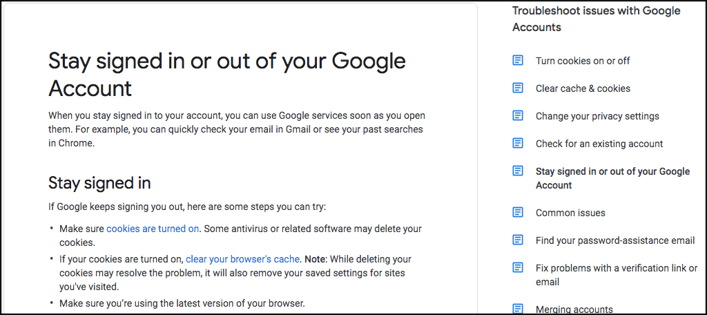 Go to the google sign out help page