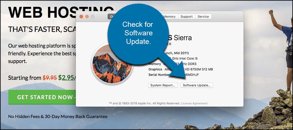 Check for software update on mac to remove adware in Safari