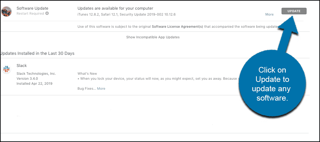 Click the update button to update any software programs