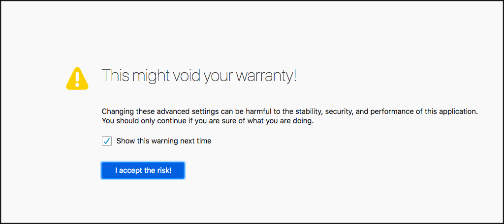 Firefox void warranty page