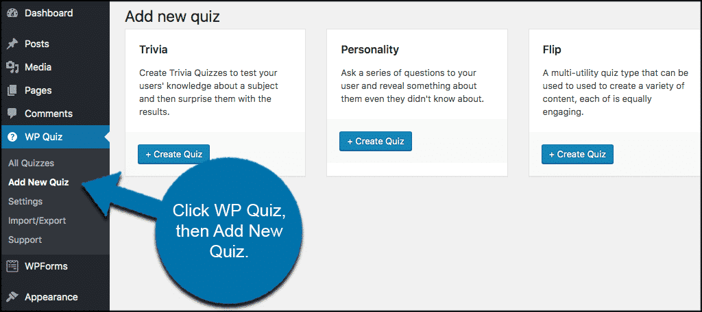 Click wp quiz then on add new quiz