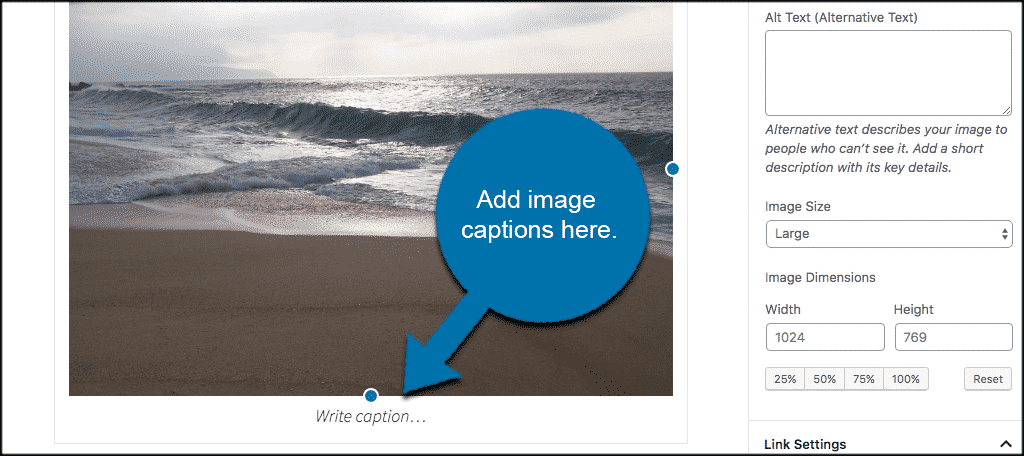 Add image captions in wordpress here