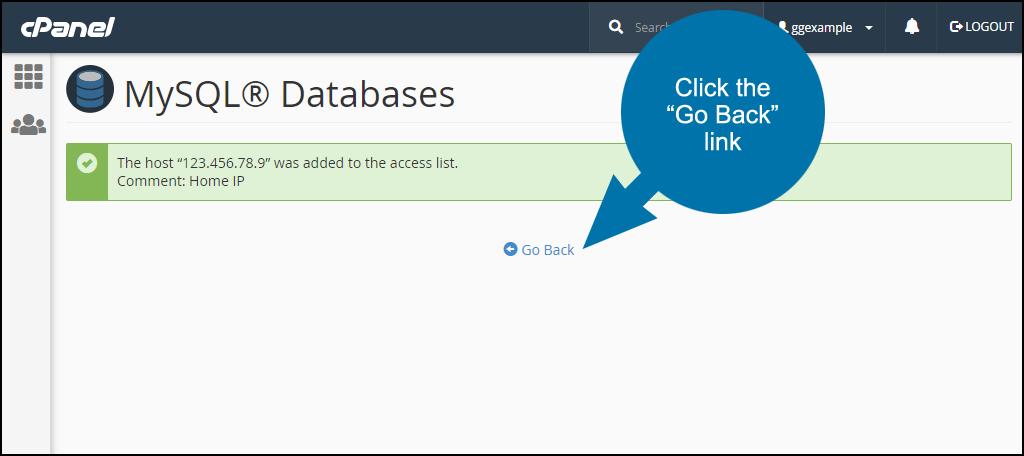 cPanel set up remote MySQL access step 3