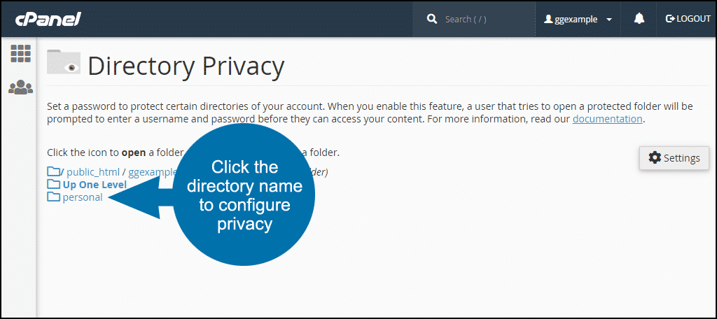 setting up directory privacy in cPanel step 3