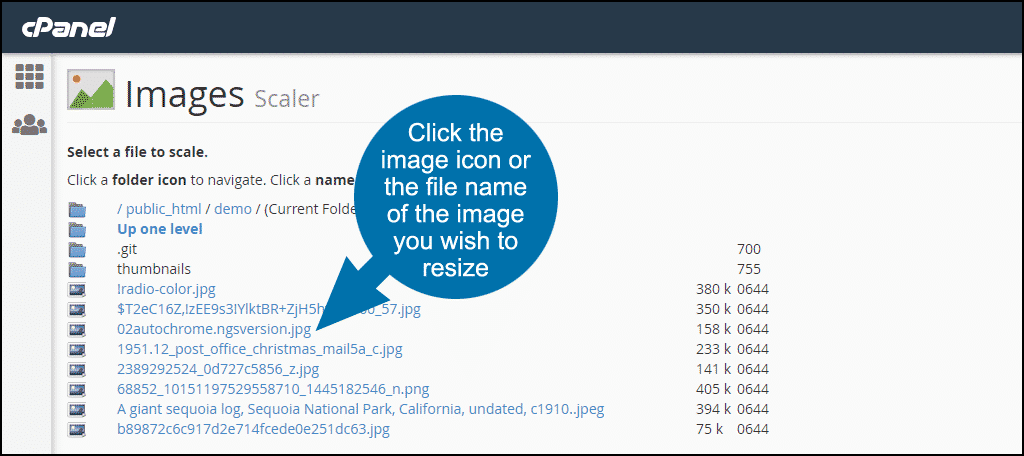 resizing images in cPanel, step 5