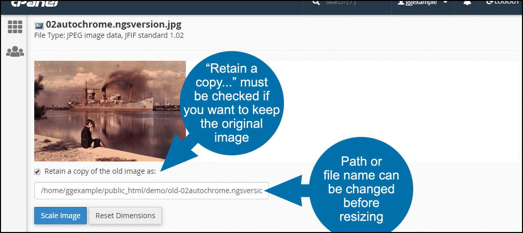 resizing images in cPanel, step 7