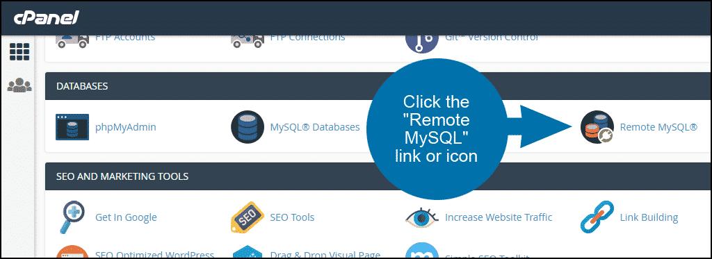 cPanel set up remote MySQL access step 1