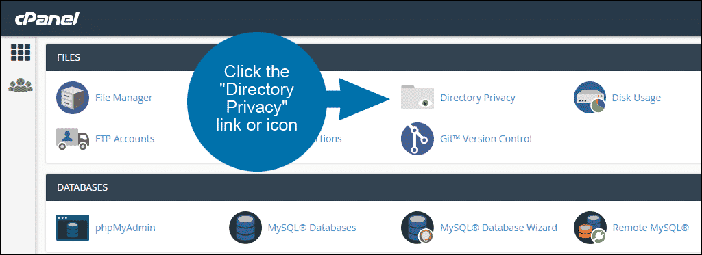 setting up directory privacy in cPanel step 1