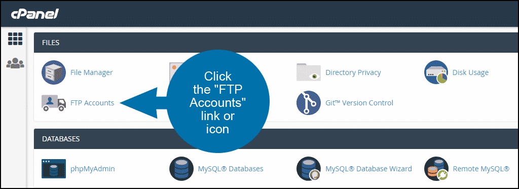 how to set up ftp accounts in cPanel step 1