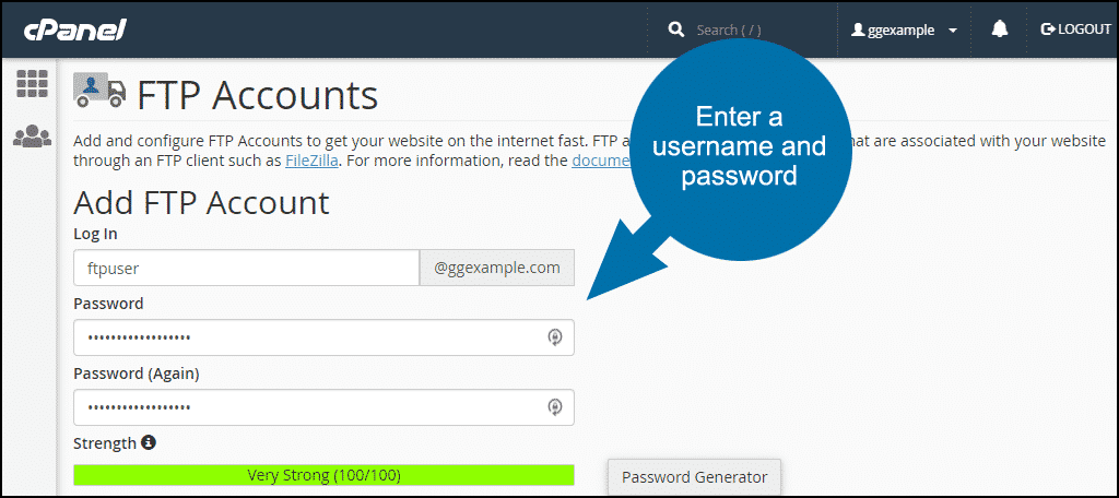 how to set up ftp accounts in cPanel step 2
