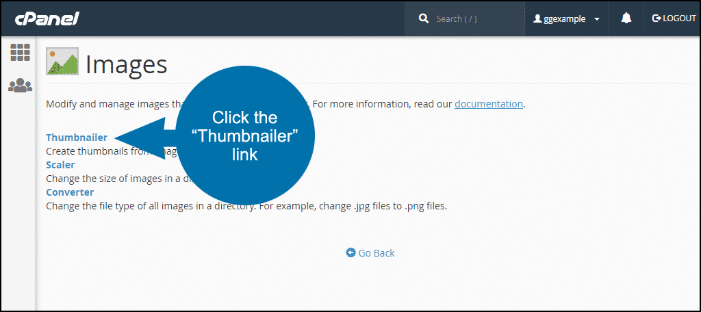 how to make image thumbnails in cPanel, step 2