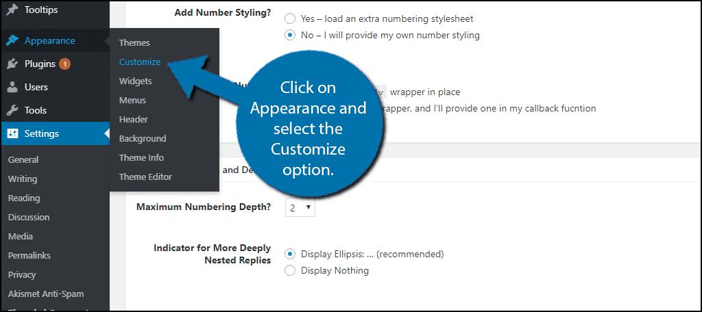 Select The Customize Option