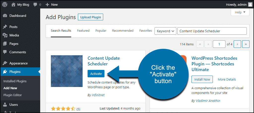 click to activate the WordPress Content Update Scheduler plugin
