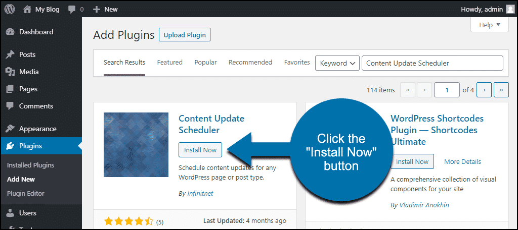 click to install the WordPress Content Update Scheduler plugin