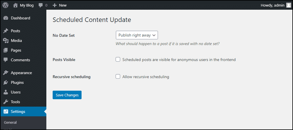 Scheduled Content Update page options