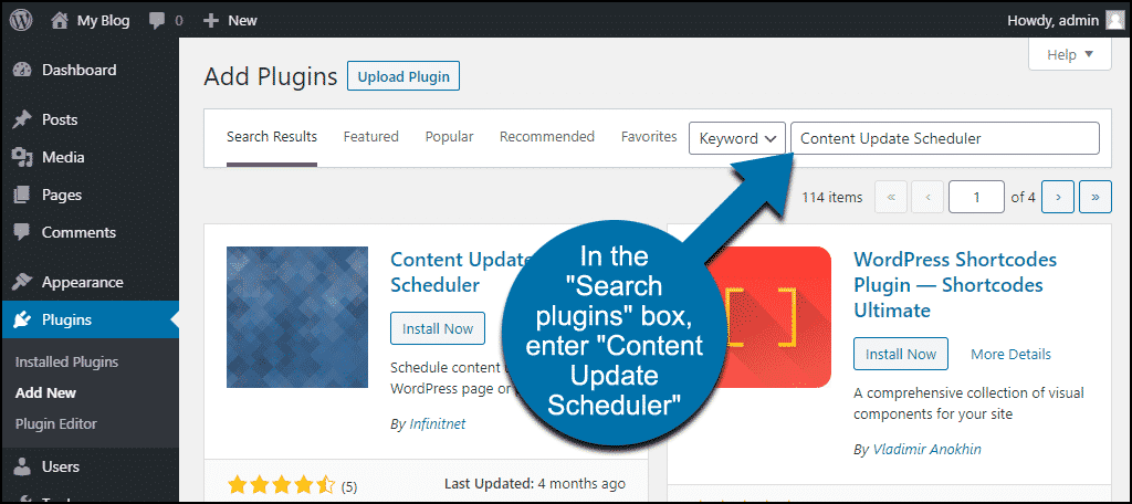 search for the WordPress Content Update Scheduler plugin