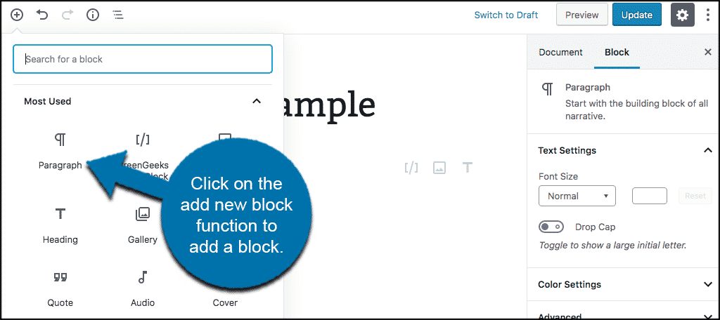 Click on the add new block function to add a block into the gutenberg editor