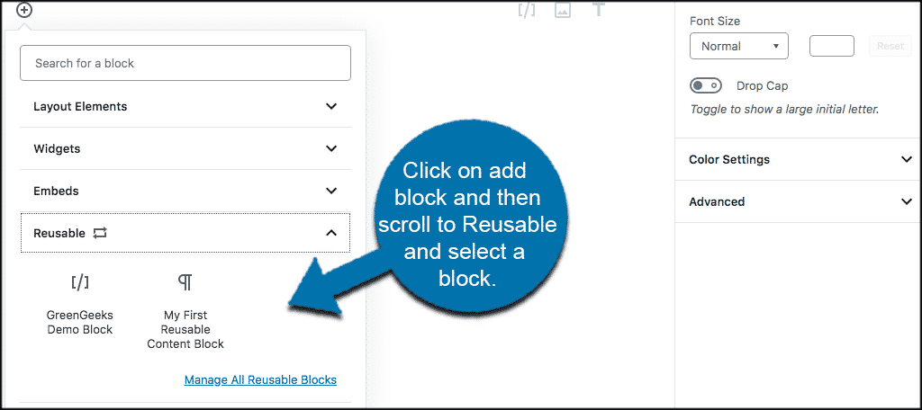 Add a reusable block to your post or page