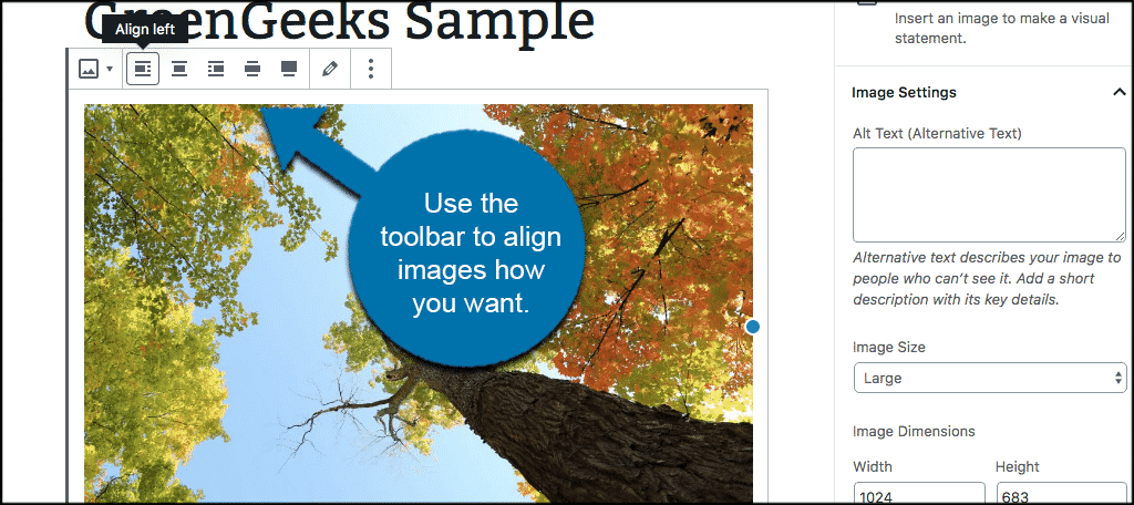 Use toolbar to align images