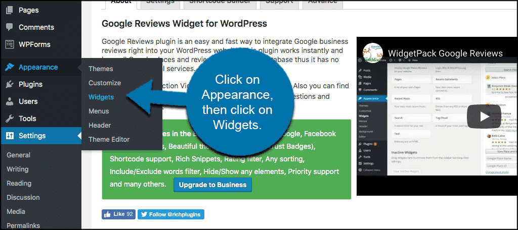 Click on appearance then click on widgets to access google reviews