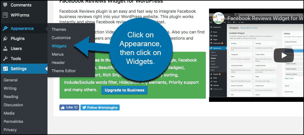 Click on appearance then click on widgets