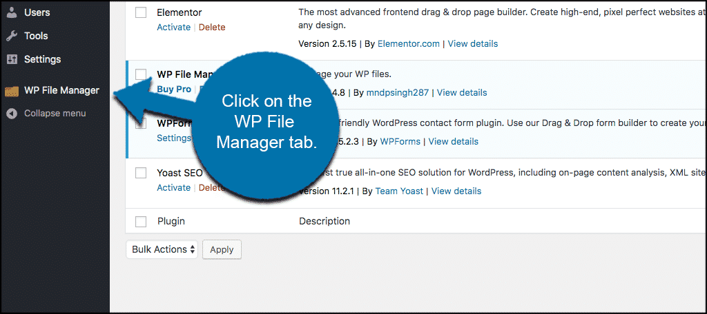 Click wp file manager tab