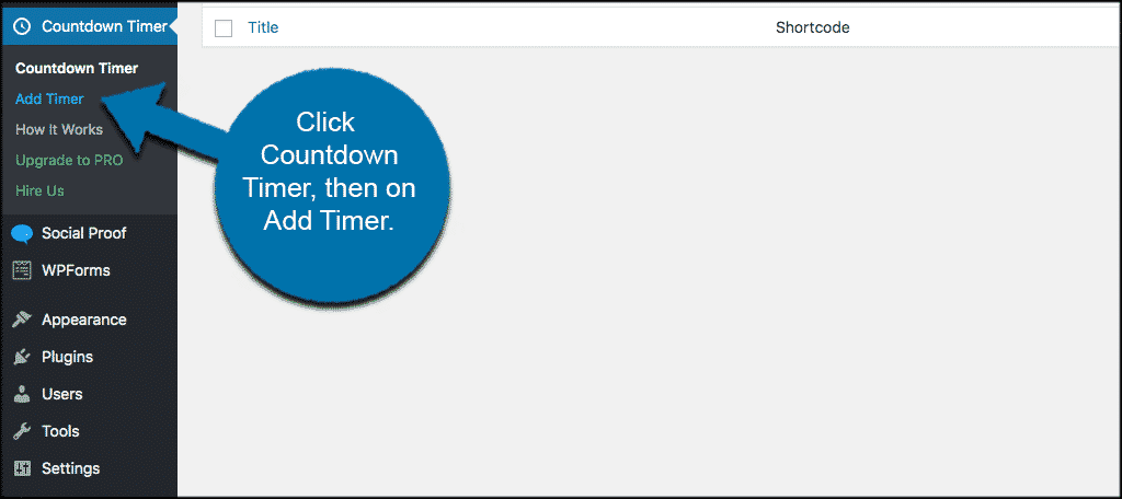 Click countdown timer and then add timer