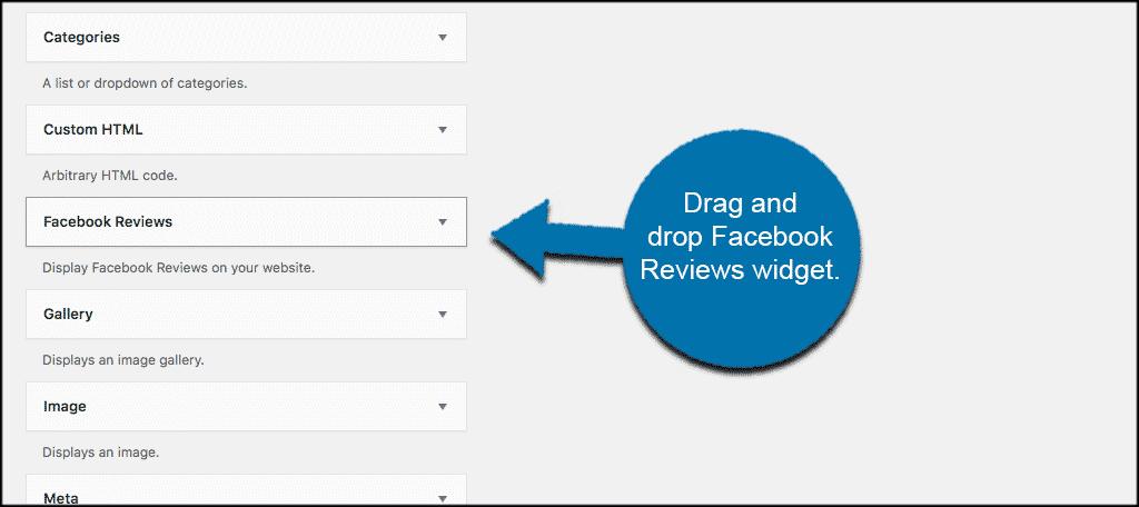 Drag and drop the facebook reviews widget