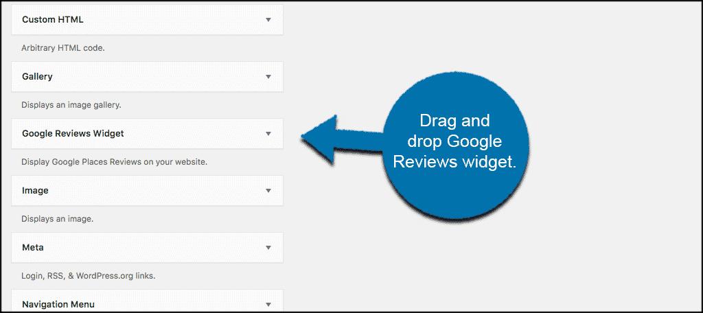 Drag and drop the google reviews widget
