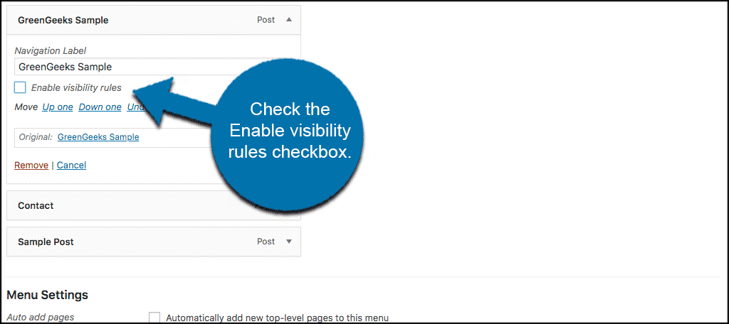 Check the enable visibility rules checkbox