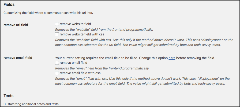 Customize comment and email fields here