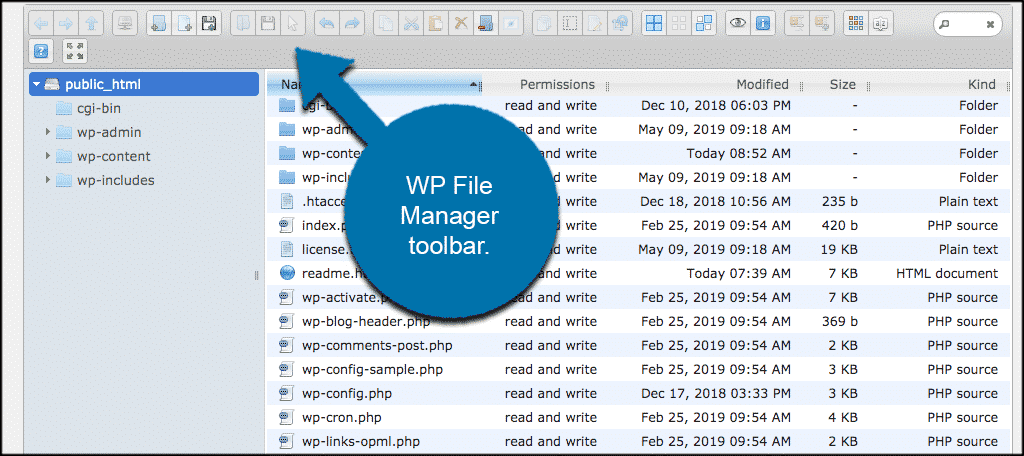 WP file manager toolbar