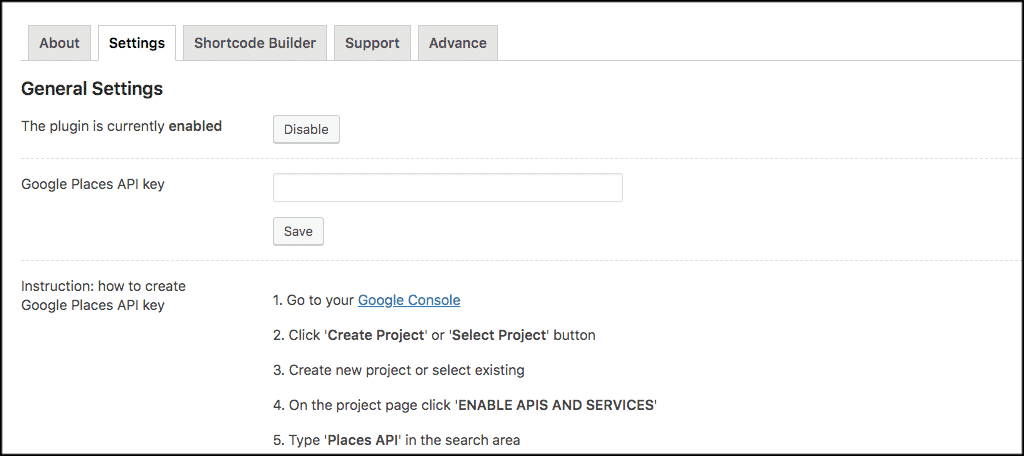 Fill out google places api key