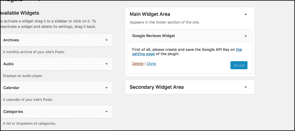 Fill out google reviews widget settings