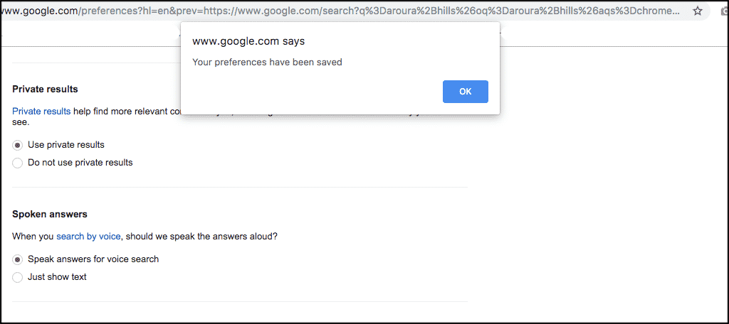 Google save confirmation popup box