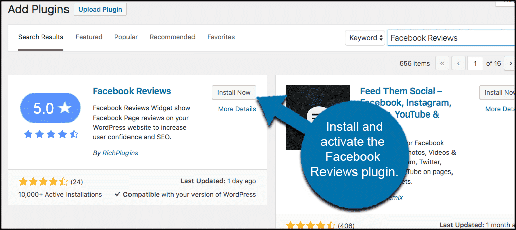 Install and activate the facebook reviews plugin