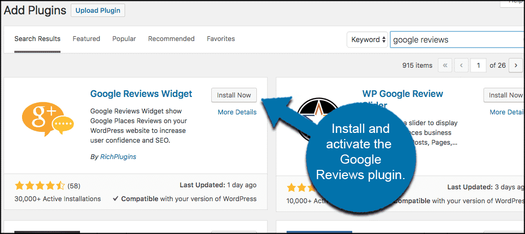 Install and activate the gogle reviews plugin