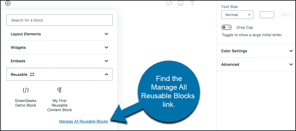 Find the manage all reusable blocks link